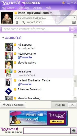 Tampilan setelah anda login ke Yahoo Messenger