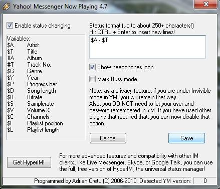 Pengaturan untuk memunculkan status lagu di Yahoo Messenger
