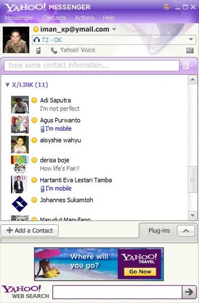 Tampilan Yahoo Messenger anda sekarang