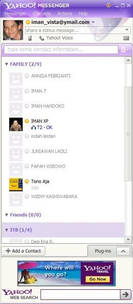 Tampilan Yahoo Messenger anda di tempat teman anda lainnya